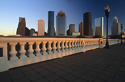 Daytime skyline of Houston, Texas from the Sabine Street Bridge.