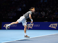 Tennis - 2019 Nitto ATP Finals at The O2 - Day Five<br /> <br /> Singles Group Bjorn Borg: Dominic Thiem (Austria) vs. Matteo Berrettini (Italy)<br /> <br /> Dominic Thiem serves during his 2 set defeat to Matteo Berrettini, 7-6, 6-3<br /> <br /> COLORSPORT/ASHLEY WESTERN