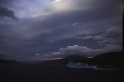 An Interislander arrival in the South Island port of Picton in ominous twilights, with superb cloud formations and accented light effects in the sky.