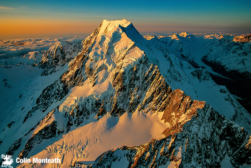 Aoraki  Mount Cook South face, Hooker valley to left and Tasman glacier valley on right, aerial view, Aoraki  Mount Cook National park, Southern Alps New Zealand