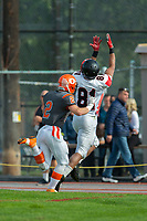 KELOWNA, BC - OCTOBER 6:  Garrett Cape #2 of Okanagan Sun pushes Mike West #81 of the VI Raiders out of bounds during BCFC regular season at the Apple Bowl on October 6, 2019 in Kelowna, Canada. (Photo by Marissa Baecker/Shoot the Breeze)
