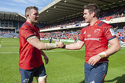 March 30, 2019 - Edinburgh, Scotland, United Kingdom - Peter O'Mahony and Billy Holland of Munster celenrate during the Heineken Champions Cup Quarter Final match between Edinburgh Rugby and Munster Rugby at Murrayfield Stadium in Edinburgh, Scotland, United Kingdom on March 30, 2019  (Credit Image: © Andrew Surma/NurPhoto via ZUMA Press)