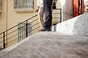 low angle view of two people standing on stairs