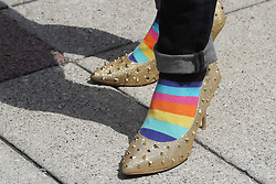 May 31, 2017 - Toronto, ON, Canada - TORONTO, ON- MAY 31  - The eighth annual Walk a Mile in Her Shoes event. Men walk a mile in women's shoes for this annual fundraiser in downtown Toronto and is one of the biggest in the world, and raises awareness and funds for White Ribbon: a movement of men working to end violence against women and girls and promote gender equality and healthy relationships in Toronto. May 31, 2017.  Steve Russell/Toronto Star (Credit Image: © Steve Russell/The Toronto Star via ZUMA Wire)