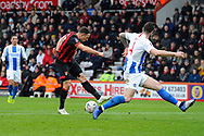Marc Pugh (7) of AFC Bournemouth has his shot at goal blocked by Shane Duffy (4) of Brighton and Hove Albion during the The FA Cup 3rd round match between Bournemouth and Brighton and Hove Albion at the Vitality Stadium, Bournemouth, England on 5 January 2019.