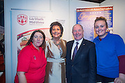 NO FEE PICTURES<br /> 23/1/16 Minister for Tourism Michael Ring and Maureen Ledwith, organiser of the Holiday World Show at the Mid Ulster District Council stand at the Holiday World Show at the RDS in Dublin. Picture: Arthur Carron