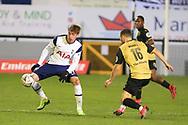 Marine forward Ryan Wignall (16) goes for the ball during the The FA Cup match between Marine and Tottenham Hotspur at Marine Travel Arena, Great Crosby, United Kingdom on 10 January 2021.