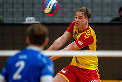 Wessel Blom of Dynamo in action during the cup final between Amysoft Lycurgus vs. Draisma Dynamo on April 18, 2021 in sports hall Alfa College in Groningen