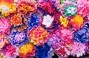 A mosaic of colorful paper flowers on side of parade float. Cinco de Mayo Fiesta St Paul Minnesota USA