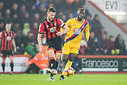 Bournemouth defender Simon Francis (2), Crystal Palace forward Christian Benteke (17) during the Premier League match between Bournemouth and Crystal Palace at the Vitality Stadium, Bournemouth, England on 31 January 2017. Photo by Sebastian Frej.