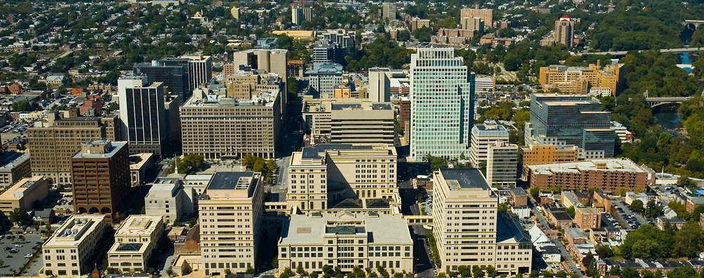 Aerial view of Downtown Wilmington, Delaware, Bank of America,