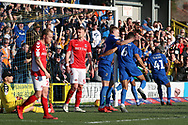 AFC Wimbledon attacker Michael Folivi (41) celebrating after scoring goal to make it 1-0 during the EFL Sky Bet League 1 match between AFC Wimbledon and Charlton Athletic at the Cherry Red Records Stadium, Kingston, England on 23 February 2019.