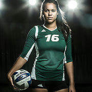 UVU volleyball team members pose for portraits and action shots on the campus of Utah Valley University in Orem, Utah Tuesday June 24, 2014. (August Miller)
