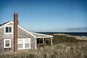 Rustic oceanfront cottage, Cape Cod, Massachusetts, USA.