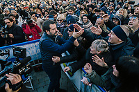CESENATICO, ITALY - 5 JANUARY 2020: Matteo Salvini, former Interior Minister of Italy and leader of the far-right League party, greets his supporters on his way to the stage during a rally in Cesenatico, Italy, on January 5th 2020.<br /> <br /> Matteo Salvini is campaigning in the region of Emilia Romagna to support the League candidate Lucia Borgonzoni running for governor.<br /> <br /> After being ousted from government in September 2019, Matteo Salvini has made it a priority to campaign in all the Italian regions undergoing regional elections to demonstrate that, in power or not, he still commands considerable support.<br /> <br /> The January 26th regional elections in Emilia Romagna, traditionally the home of the Italian left, has been targeted by Matteo Salvini as a catalyst for bringing down the government. A loss for the center-left Democratic Party (PD) against Mr Salvini's right would strip the centre-left party of control of its symbolic heartland, and probably trigger a crisis in its coalition with the Five Star Movement.