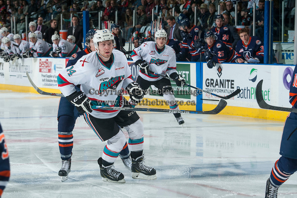 KELOWNA, CANADA - MARCH 26: Rourke Chartier #14 of Kelowna Rockets skates against the Kamloops Blazers on March 26, 2016 at Prospera Place in Kelowna, British Columbia, Canada.  (Photo by Marissa Baecker/Shoot the Breeze)  *** Local Caption *** Rourke Chartier;
