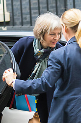Downing Street, London, November 3rd 2015.  Home Secretary Theresa May arrives at 10 Downing Street to attend the weekly cabinet meeting. /// Licencing: Paul@pauldaveycreative.co.uk Tel:07966016296 or 020 8969 6875