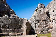 Picture of Yazilikaya [ i.e written riock ], Hattusa  The largest known Hittite sanctuary. 13th century BC made in the reign of Tudhaliya 1V .<br /> <br /> If you prefer to buy from our ALAMY PHOTO LIBRARY  Collection visit : https://www.alamy.com/portfolio/paul-williams-funkystock/yazilikaya-hittite-sanctuary-hattusa.html<br /> <br /> Visit our ANCIENT WORLD PHOTO COLLECTIONS for more photos to download or buy as wall art prints https://funkystock.photoshelter.com/gallery-collection/Ancient-World-Art-Antiquities-Historic-Sites-Pictures-Images-of/C00006u26yqSkDOM