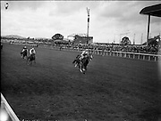 """21/06/1961<br /> 06/21/1961<br /> 21 June 1961<br /> Irish Derby at the Curragh Racecourse, Co. Kildare. Image shows """"My Highness"""" owned by Mrs Stanhope Joel, trained by Humphrey Cottrill and ridden by H. Holmes winning the Derby."""