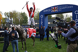 Persuasive ridden by Frankie Dettori wins The Queen Elizabeth II Stakes Race run during Qipco British Champions Day at Ascot Racecourse.