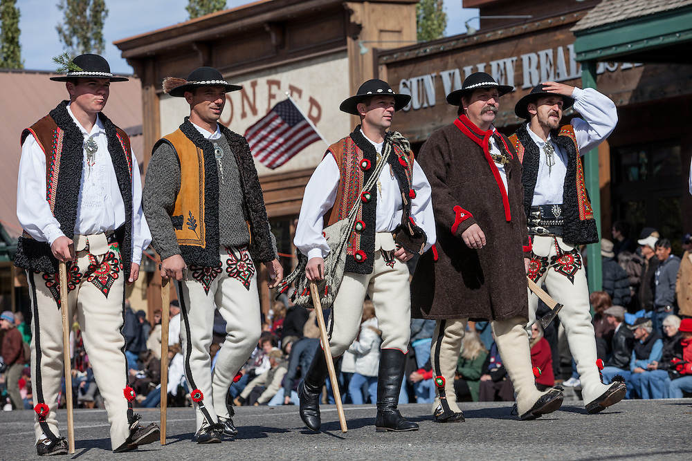 Male Basque Dancers preform traditional folk dances while wearing traditional clothes in Ketchum Idaho during the Wagon Days Parade.  Open Edition Prints & Editorial Usage