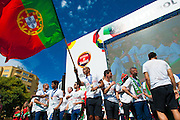 Portuguese football players speaking to the crowd of portuguese supporters at Alameda Dom Afonso Henriques, in Lisbon. Portugal's national squad won the Euro Cup the day before, beating in the final France, the organizing country of the European Football Championship, in a match that ended 1-0 after extra-time.