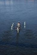 Putney. London,  Great Britain.<br /> CUWBC, Blue Boat, moving away from Hammersmith Bridge.<br /> 2016 Tideway Week, Putney. Putney Embankment, Championship Course. River Thames.<br /> <br /> Friday  25/03/2016 <br /> <br /> [Mandatory Credit; Karon PHILLIPS/Intersport-images]