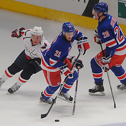 May 12, 2012: New York Rangers center Derek Stepan (21) dekes past Washington Capitals left wing Alexander Semin (28) during first period action in game 7 of the NHL Eastern Conference Semi-finals between the Washington Capitals and New York Rangers at Madison Square Garden in New York, N.Y.