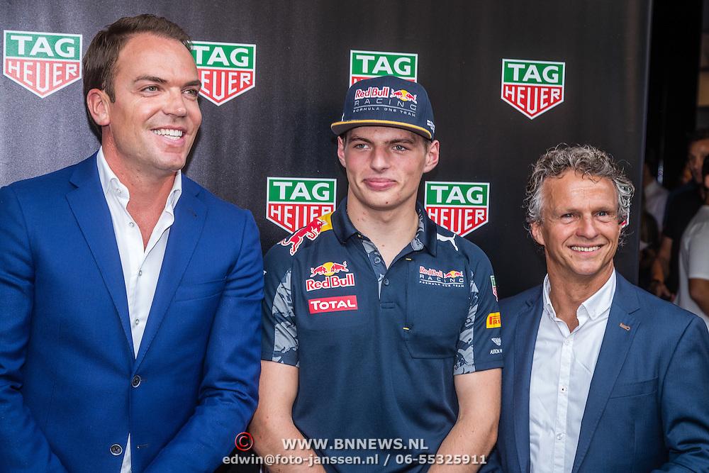 NLD/Amsterdam/20160830 - Nieuw TAG Hauer horloge, Robert Doornbos, Max Verstappen en Jan Lammers