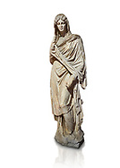 Roman statue of young Faustina. Marble. Perge. 2nd century AD. Inv no 3045 . Antalya Archaeology Museum; Turkey. Against a white background. .<br /> <br /> If you prefer to buy from our ALAMY STOCK LIBRARY page at https://www.alamy.com/portfolio/paul-williams-funkystock/greco-roman-sculptures.html . Type -    Antalya     - into LOWER SEARCH WITHIN GALLERY box - Refine search by adding a subject, place, background colour, museum etc.<br /> <br /> Visit our ROMAN WORLD PHOTO COLLECTIONS for more photos to download or buy as wall art prints https://funkystock.photoshelter.com/gallery-collection/The-Romans-Art-Artefacts-Antiquities-Historic-Sites-Pictures-Images/C0000r2uLJJo9_s0