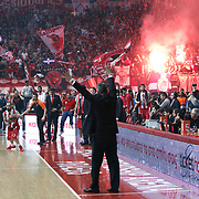 Olympiacos's Supporters during their Turkish Airlines Euroleague Basketball playoffs Game 5 Olympiacos between Anadolu Efes at SEF Indoor Hall in Piraeus, in Greece, Friday, April 26, 2013. Photo by TURKPIX
