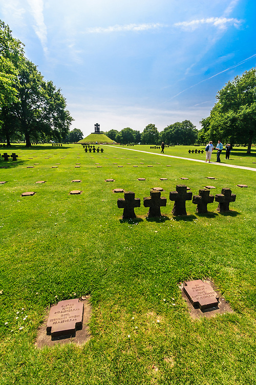 The German military cemetery in La Cambe, Normandy, France.  The cemetery is the largest German military cemetery in Normandy. 21 400 German soldiers are buried there.