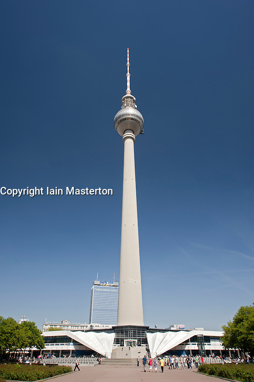 Television Tower or  Fernsehturm at Alexanderplatz in Mitte district of Berlin Germany