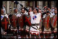 The Cruzados, a Christian army, are led by cigar-puffing captain @ Moors & Christians fest; Alcoy Spain