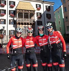 26.09.2018, Innsbruck, AUT, UCI Straßenrad WM 2018, Herren, Training, im Bild v.l. Patrick Konrad (AUT) Lukas Pöstlberger (AUT), Gregor Mühlberger (AUT), Felix Grossschartner (AUT) // f.l. Patrick Konrad of Austria Lukas Pöstlberger of Austria Gregor Mühlberger of Austria Felix Grossschartner of Austria during the men's practice trial of the UCI Road World Championships 2018. Innsbruck, Austria on 2018/09/26. EXPA Pictures © 2018, PhotoCredit: EXPA/ Reinhard Eisenbauer