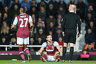 Andy Carroll of West Ham United complaining to Referee Anthony Taylor. The Emirates FA cup, 3rd round match, West Ham Utd v Wolverhampton Wanderers at the Boleyn Ground, Upton Park  in London on Saturday 9th January 2016.<br /> pic by John Patrick Fletcher, Andrew Orchard sports photography.