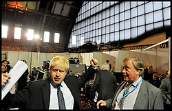 Mayor of London Boris Johnson with Kenneth Clarke during the Conservative Party Conference in Manchester, October 4, 2011. Photo By Andrew Parsons / i-Images.
