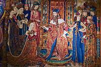 France, Bourgogne-Franche-Comté, Yonne (89), Sens, musée de Sens, Tresor de la Cathedrale, tapisserie des trois couronnements, 15e // France, Burgundy, Yonne, Sens, museum, tapistery