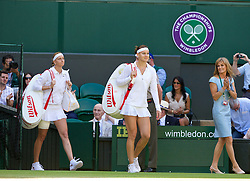 03.07.2014, All England Lawn Tennis Club, London, ENG, WTA Tour, Wimbledon, Tag 10, im Bild Lucie Safarova (CZE) and Petra Kvitova (CZE) walk onto Centre Court before the all-Czech Ladies' Singles Semi-Final match on day ten // during day 10 of the Wimbledon Championships at the All England Lawn Tennis Club in London, Great Britain on 2014/07/03. EXPA Pictures © 2014, PhotoCredit: EXPA/ Propagandaphoto/ David Rawcliffe<br /> <br /> *****ATTENTION - OUT of ENG, GBR*****