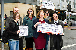 Pictured: Patrick Harvie and Sarah Beattie-Smith joned with Green Party activists to make the case for Better Buses<br /> <br /> Scottish Green Party co-convener Patrick Harvie and Scottish Greens infrastructure and transport spokeswoman Sarah Beattie-Smith met bus travellers at a busy intersection in Edinburgh as part of the party's Better Bus campaign <br /> Ger Harley | EEm 5 April 2016