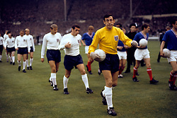 (R-L) England's Gordon Banks, Ian Callaghan, Roger Hunt, Bobby Charlton, Ray Wilson and Nobby Stiles walk out before the match
