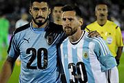 20170831/ Javier Calvelo - adhocFOTOS/  MONTEVIDEO/  ESTADIO CENTENARIO/ CLASIFICATORIAS SUDAMERICANAS MUNDIAL RUSIA 2018 /  18ª FECHA/  URUGUAY 3:2 ARGENTINA/ Cancha: Estadio Centenario. Uruguay 0:0 Argentina<br /> En la foto:  Luis Suárez y Lionel Messi previo al Uruguay ante Argentina en el Centenario por las Calsificatorias a Rusia 2018. Foto: Javier Calvelo / adhocFOTOS