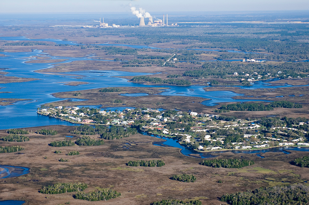 Aerial photograph of Crystal River in northwestern Florida. This section of the state is one of the last remaining wildernesses in the region and is the winter home of the endangered Florida  manatee (Trichechus manatus latirostrus).