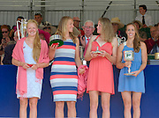 Henley on Thames. United Kingdom. GBR W4X.  Polly SWANN, Vicky MAYER-LAKER, Frances HOUGHTON and Helen GLOVER. with the Princess Grace Challenge Cup.  2013 Henley Royal Regatta, Henley Reach. 17:03:43  Sunday  07/07/2013  [Mandatory Credit; Peter Spurrier/ Intersport Images]