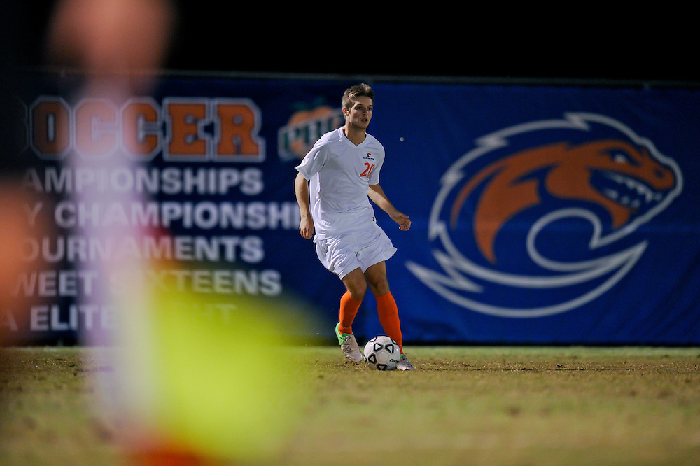 Sept. 26, 2012; Morrow, GA, USA; Clayton State men's soccer player Griffin Byrne during the game against the Montevallo at CSU. Photo by Kevin Liles/kdlphoto.com