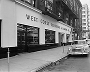 Y-490726A. West Coast Printing building.  West Burnside between 13th - 14th. Now the Crystal Ballroom. July 26, 1949