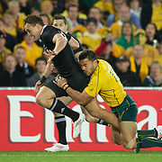 Israel Dagg, New Zealand, is tackled by Digby Ioane, Australia, during the New Zealand V Australia Semi Final match at the IRB Rugby World Cup tournament, Eden Park, Auckland, New Zealand, 16th October 2011. Photo Tim Clayton...