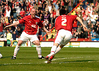 Photo: Leigh Quinnell.<br /> Bristol City v Nottingham Forest. Coca Cola League 1. 31/03/2007. Bristol Citys Steve Brooker rushes to congratulate Bradley Orr on his goal.