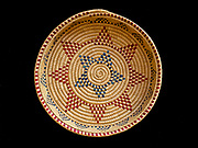 Yupik Eskimo grass basket decorated with dyed seal gut, Fred and Randi Hirschmann's Collection, Aalska.