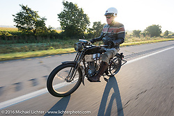 Dean Bordigioni of California riding his Class-1 single-cylinder single-speed 1914 Harley-Davidson on the Motorcycle Cannonball Race of the Century. Stage-4 from Chillicothe, OH to Bloomington, IN. USA. Tuesday September 13, 2016. Photography ©2016 Michael Lichter.